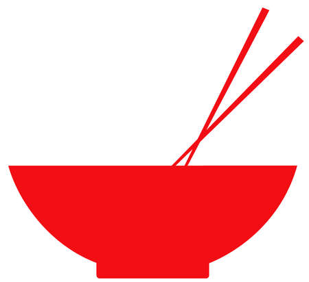 chopsticks red bowl meal food asian traditional illustration Stock Photo