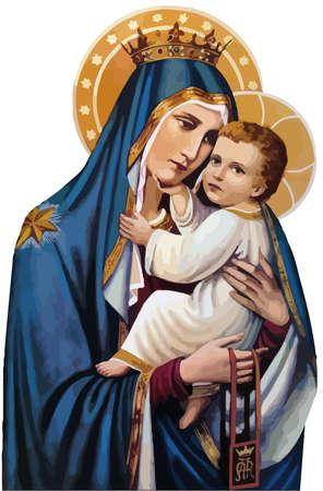 mary nazareth  orthodox church baby jesus theotokos holy illustration Фото со стока