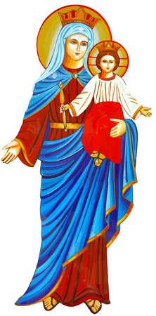mary nazareth  orthodox church baby jesus theotokos illustration Фото со стока