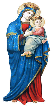 mary eleusa child mother madonna congregation sacred hearts jesus orthodox illustration