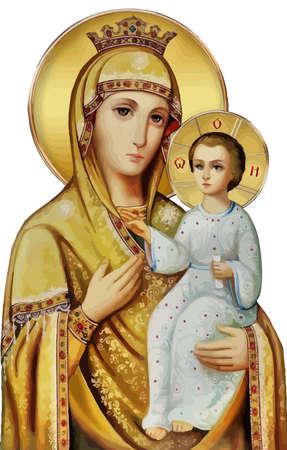 mary nazareth  orthodox church baby jesus theotokos golden  holy illustration Фото со стока - 115673056