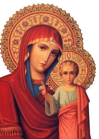 mary nazareth  orthodox church baby jesus theotokos red  holy illustration
