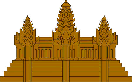 angkor wat cambodia temple architecture ancient attraction illustration Фото со стока