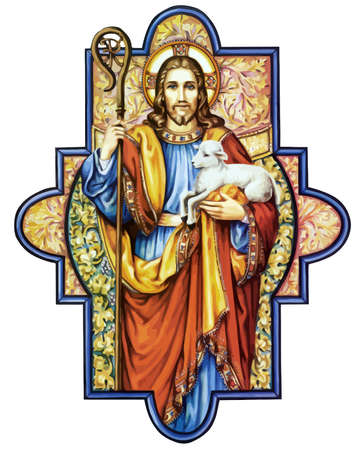 Jesus Christ sacred love peace faith holy heart spirit lamb illustration