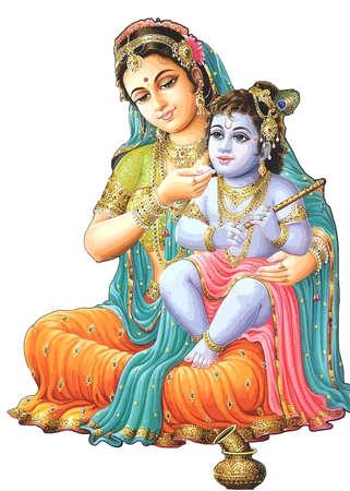lord krishna festival hinduism culture mythology  yashoda illustration