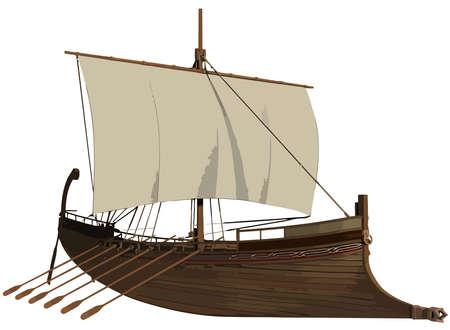 viking ship ancient wood military nordic illustration