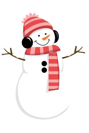 snowman frost scarf winter season christmas illustration