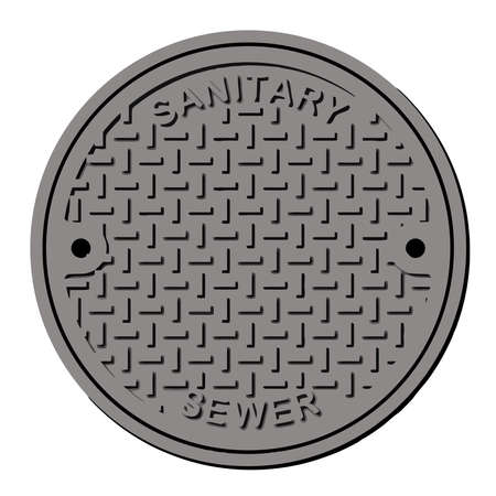 sewer manhole iron hole maintenance sanitary illustration Imagens