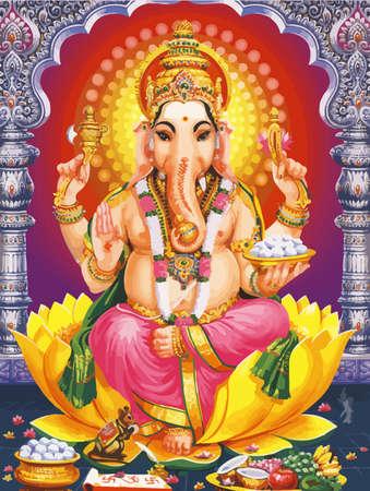 Ganesha hindu temple lord faith mythology bless god fruits offers illustration