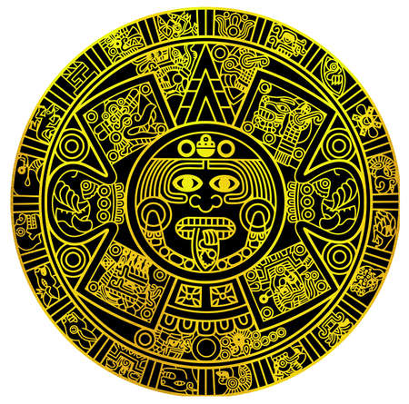 maya civilization  aztec calendar astronomy tribal ancient golden illustration Stok Fotoğraf