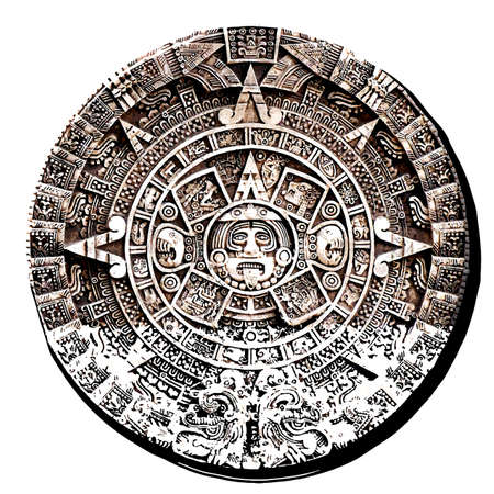 maya civilization  aztec calendar astronomy tribal ancient stone illustration