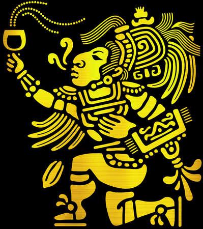 maya aztec civilization tribal cult ritual offer spirit golden illustration
