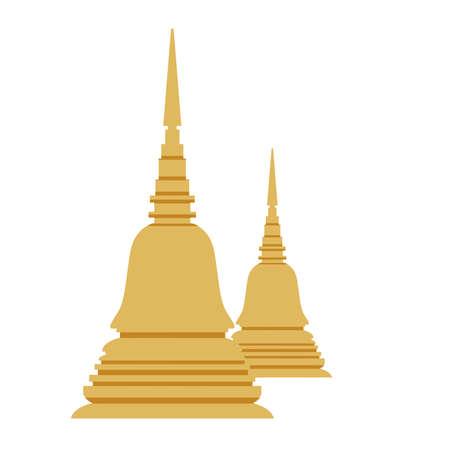 Thailand pagoda architecture temple landmark religious illustration