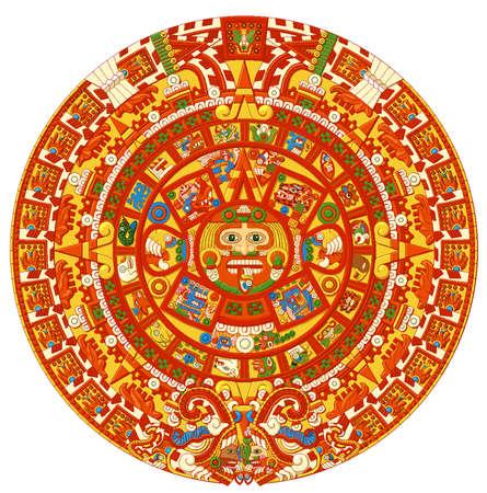 tribal ancient maya civilization  aztec calendar astronomy  stone illustration