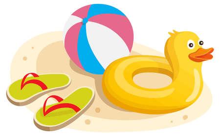 yellow duck floater ball slipper illustration
