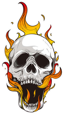 flames skull horror evil burn hot illustration