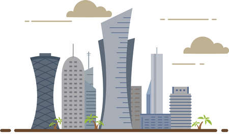 Qatar Doha city buildings travel country architecture middle east illustration