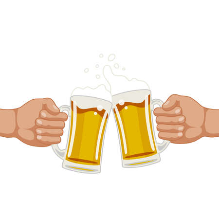 draught drink beer hand holding cheers pub illustration