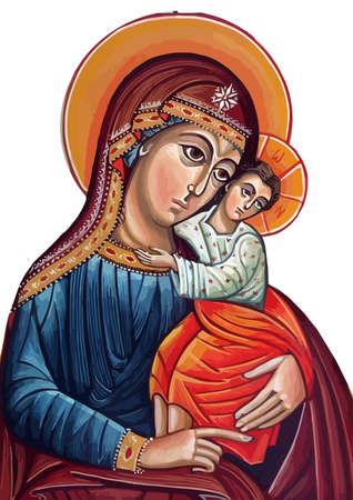mary nazareth  orthodox  illustration church baby jesus theotokos   holy Фото со стока