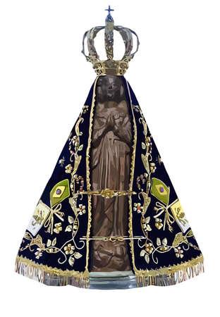 lady saint aparecida catholic  brazilian sacred belief statue holy illustration