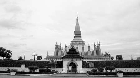 That Luang gold temple Laos landmark entrance black white