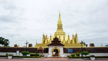 That Luang gold temple Laos landmark entrance