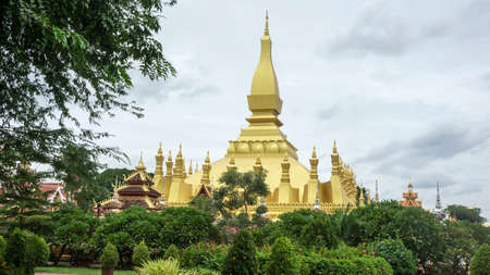 That Luang gold temple Laos landmark vegetation