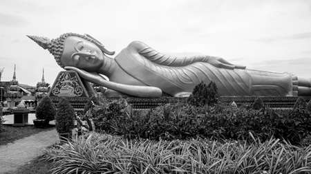 Wat Pha That Luang reclining golden Buddha black white