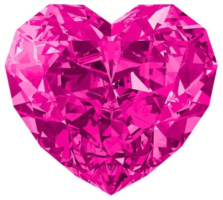 heart pink gem love bright luxury romance illustration