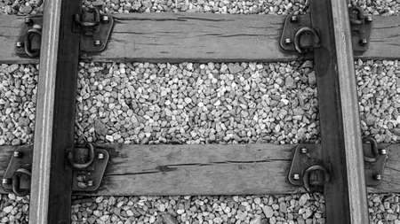 train rail transportation track line steel wood black white