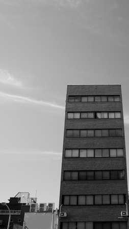 bricks building Tokyo city architecture urban black white Banco de Imagens - 132126621