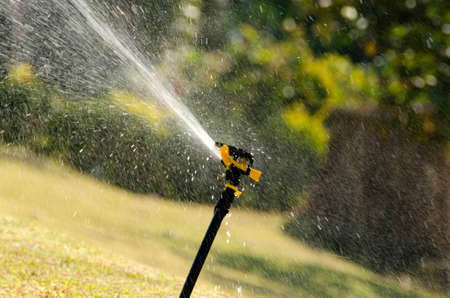 effectively: sprinkler sprays water droplets all around to effectively provide water for plants and lawn.