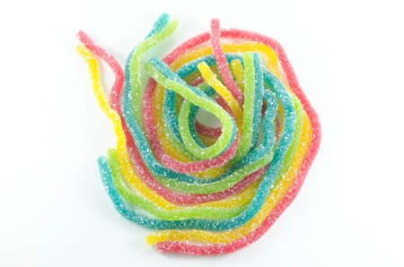 worm snake: Colorful jelly candy on white background. Stock Photo