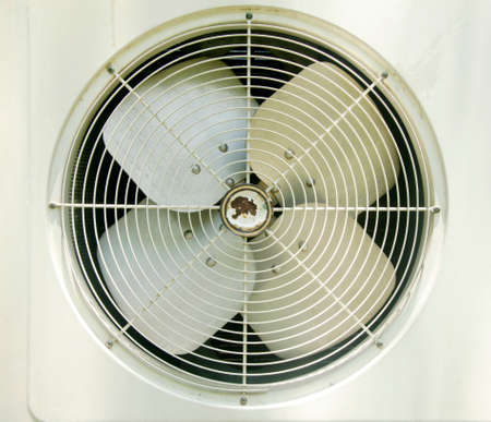 expel: The old Condenser Fan and cover Stock Photo
