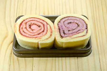 fancy cake: Jam roll fancy cake Soft, sweet, and full of jam Stock Photo