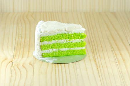 white cream: pandan layers Chiffon cake with white cream