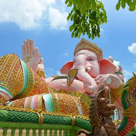 hinduism: Ganesha Statue, The Hinduism God in Public Holy Place. Stock Photo