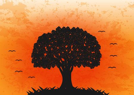 Vector Big tree in orange background flat design Vettoriali