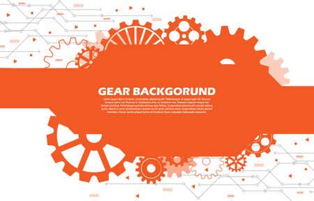Abstract gear wheel pattern on orange technology background Ilustración de vector