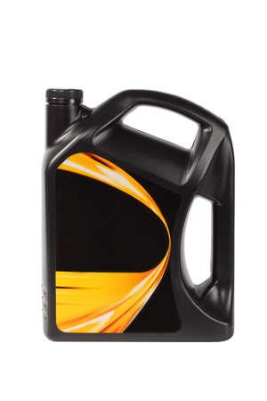 petrol can: botella de pl�stico negro de aceite de motor con etiqueta en blanco  Foto de archivo