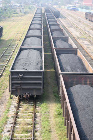 formation of coal trains in a freight depot