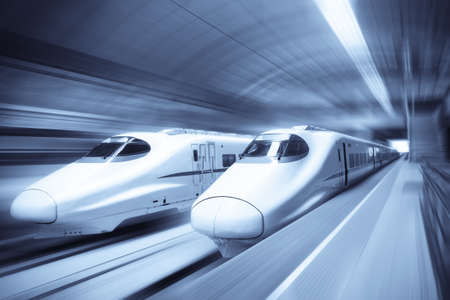 two modern high speed train with motion blur Stock Photo - 8343915