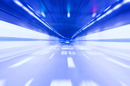inside the tunnel with the light traces, abstract blurred speed motion Stock Photo - 8344119