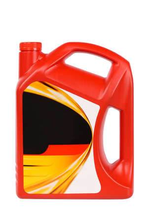 motor oil bottle with blank label isolated on white