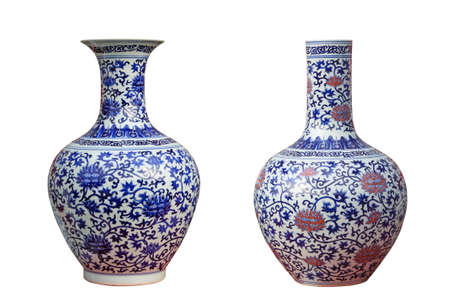 two porcelain vases with white background