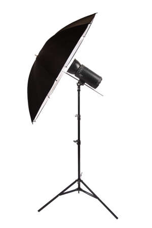 studio flash isolated on white,reflector umbrella photo