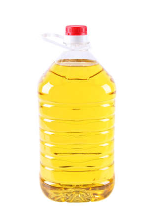 refined: cooking oil in plastic bottle isolated on white Stock Photo