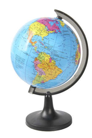 americas: school globe displaying the americas isolated on white