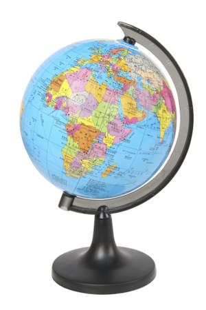 school globe displaying the africa and europe isolated on white Stock Photo - 8424183