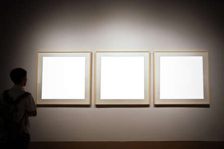 walls in museum with empty frames and person looking Stock Photo - 8454644